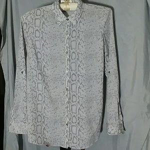 Snake Skin print button down shirt, rollup sleeves